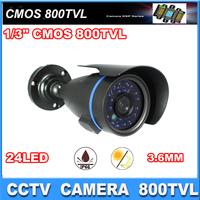 1/3'' CMOS Sensor 800TVL camera 24pcs  IR leds Security Camera With IR-CUT waterproof CCTV camera with bracket Free Shipping