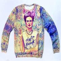 in stock!2014 Women rock punk frida smoking print 3D/galaxy Sweatshirts Hoodies sweater Shirts Tops