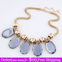 Fashion personality gorgeous gem elegant exquisite chain short design necklace