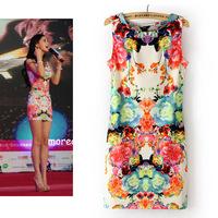 Ms. Slim sleeveless  OL dress flower print dress ladies sexy party dress slim pencil dress free shipping