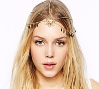 Fashion Jewelry Gold Chain Spike Hollow Out Flower Women Hair Band Accessories