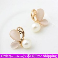 Fashion delicate sweet gentlewomen all-match - eye butterfly pearl elegant stud earring