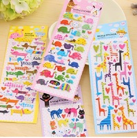 Free shipping Min.order $30(can mixed) cartoon animal  sticker 3d decorate sticker  1pc=1sheet  4designs