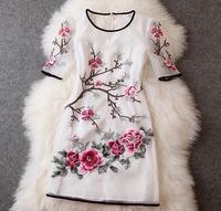 Elegant Half Sleeve Embroidery Flower Organza Dress, Exquisite Handmade Organza Embroidery O-neck One-piece Dress