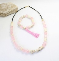 2014 New natural stone beads necklace wrap pink stone women jewelry Clothing accessories