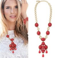 New Coming Wholesale Red Beaded Bohemian Arcylic Vogue Necklace