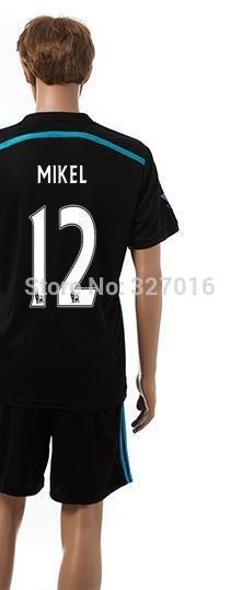 Free shipping-2014/15 Season #12 Mikel Away jersey&short,Soccer team uniforms(China (Mainland))