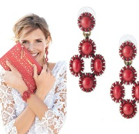 New Arrival Hot Sale Red Beaded Fashion Bohemian Women Big Stud Earring Jewelry