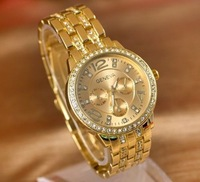 1piece Lady Women Fashion Luxury Gold Crystal Quartz Rhinestone Crystal Wrist Watch NewFree Shipping