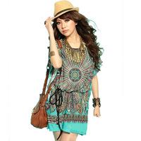Spring 2014 Ice Silk Women's Dresses woman Tops Plus Size Bohemian Vintage Paisley Totem Beach Dress Printed Fashion Dress