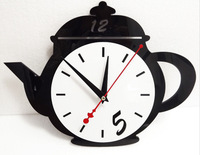4sets/lot free shipping Home decor creative Mute Digital Wall Clock Reloj Teapot Design Acrylic Vintage Wall Clocks wall watch