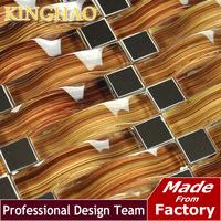 [kinghao] 2014 sale modern yellows golds  mosaic sliver metal kitchen backsplash kar02 glass tiles pattern Ceramic tile