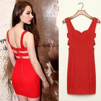 FanShou Free Shipping 2014 Women Spring Summer Dress Hollow Out Backless Spaghetti Strap Slim Skinny Sexy Club Mini Dresses 6181