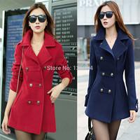 Wool & Blends coats Woolen outerwear overcoat  2014 spring women's winter long slim cotton lapel overcoat thick warm coats Q91