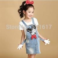 2014 new arrival fashion cute girls dress blue princess dresses The cowboy braces dress for girls free shipping