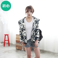 Spring and Autumn 2014 Korean version of the new women's casual long-sleeved hooded female wild thin coat  camouflage tide