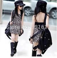 Children's clothes girls dress summer wear the new 2014 children big boy edition leopard-print dress free shipping