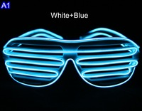 Party Supplies EL Wire Glowing Flash LED Shutter Glasses with Battery Box 3Modes for DJ/Party/Christmas Holiday