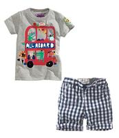 2014 children's clothing summer male child car casual set plaid pants short-sleeve twinset short 6set/lot free shipping