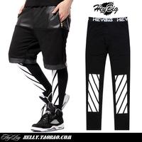 Men's Trousers 2014 New Arrival Hip Hop Streetwear Twill white digital 13 slanting stripe Print Leggings Pyrex