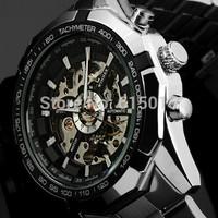 New Design 2014 Jaragar Luxury Tourbillon Automatic Watch Men Hollow Transparent Dial Full Steel Mechanical Watches ML0044