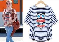 Summer fashion women's 2014 owl 100% cotton stripe navy style loose t shirt short-sleeve t-shirt female