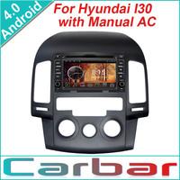 2014 Android 4.0 OS Car DVD GPS Player for Hyundai I30 manual AC Dual Core 1GHZ CPU 512MB DDR3 3G Wifi  1080P DVR Russian Menu