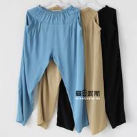New Arrival 100% Mulberry silk Harem Pants Loose pure silk Capris trousers Elastic Waist 3 colors