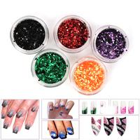 Mix Color Hexagonal Glitter Sequins Nail Art Shiny Nail Glitter Powder 12 Color drop& free shipping