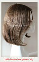 "100% Remy Human Hair Glueless None lace wigs  Human Hair 10"" Bob Wig"