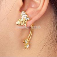 wholesale fashion punk personality rhinestone butterfly/heart-shaped/star earrings earring jackets free shipping