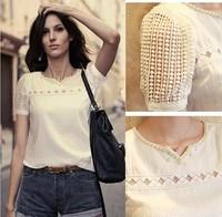 2014 New Fashion Slim Lace Blouses Women Plus Size White Blusas Femininas Camisas Femininas