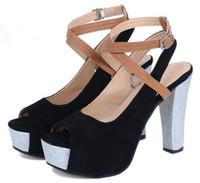 2014 Limited Sale Pu Sandalias Women Shoes Summer High-heeled Shoes Thick Heel Sandals Cross Straps High Heels Open Toe Shoe