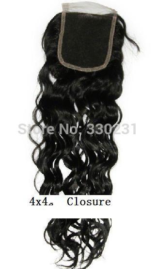 Brazilian Wavy Hair Lace Top Closure 4X4 Virgin Brazilian Hair Lace Front Closure Piece(China (Mainland))