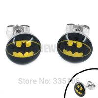 Free shipping! Enamel Batman Earring Body Piercing Stainless Steel Jewelry Trendy Motor Earring Studs SJE370080