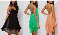 new 2014 summer women clothing dresses fashion sexy spaghetti strap back sleeveless solid chiffon lady's one-piece dress 6160
