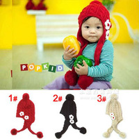 Hot-selling 1piece flower Bomber Winter Hats ear protector cap, knitted Children Baby Hat Boy/Girl hat,female child cap