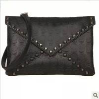 Bags 2014 women's fashion handbag vintage skull  rivet  envelope day clutch small cross-body bags