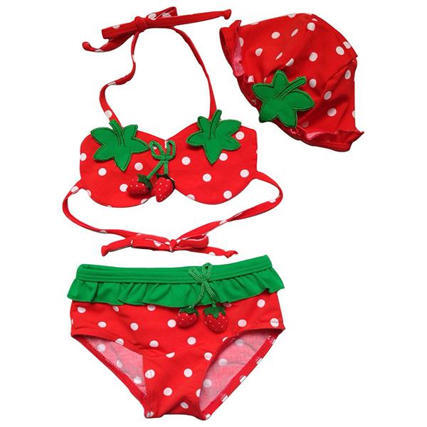 Baby Kids Girls Swimwear Bikini Suit Split Swiwsuit Swimming Cap 3 Pieces Set Tankini 1-7Y Freeshipping(China (Mainland))