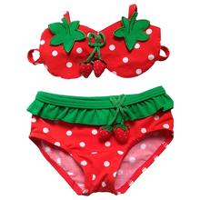 Baby Kids Girls Swimwear Bikini Suit Split Swiwsuit Swimming Cap 3 Pieces Set Tankini 1 7Y