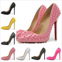 7 Colors Women Brand Designer Platform Pumps Women High Heel Shoes 2014 Genuine Leather Red Bottom Shoes Spiked Wedding Shoes