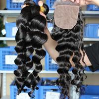Peruvian Virgin Hair 4pcs Lot 1pc Silk Base Closure With 3pcs Hair Bundles Unprocessed Virgin Hair Extension Loose Wave