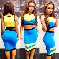 2014 NEW Sexy MULTI COLOR 2 Pcs Set Bandage Dresses Celebrity Bodycon Dress Party Dresses S,M,L Free Shipping