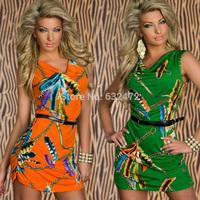 Free shipping summer dress 2014 Printed Slim Sexy women's Dresses vestidos casual dress