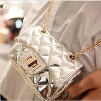 2014 japanned leather small  fashion vintage messenger  brief silver plaid chain fashion women's handbag