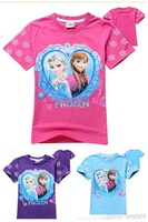 New arrival 2014 Frozen Elsa snow Romance children clothes girls cotton printed T-shirt 5 colors 3-8Y8059
