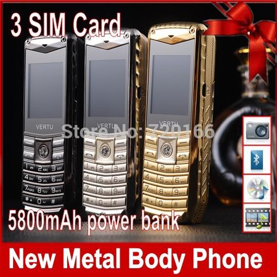 2014 New luxury mini car mobile phone 3 SIM cards metal body power bank brand unlocked cell phones Russian Spanish Polish Free(China (Mainland))