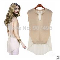 2014 fashion summer European American women patchwork chiffon t shirt oversize fake two piece top free shipping best selling