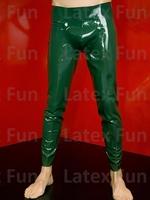 Men's Long Pants Latex Codpiece Fetish Rubber Green 0.4MM Trousers Rubber