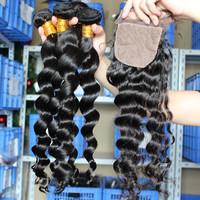 Brazilian Virgin Hair 5pcs Lot 1pc Silk Base Lace Closure With 4pcs Hair Bundles Unprocessed Virgin Hair Extension Loose Wave